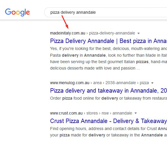 Keyword search in Google for Made in Italy Website